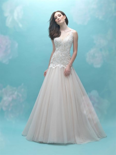 Beaded Bodice V-neck Sleeveless A-line Wedding Dress by Allure Bridals - Image 1