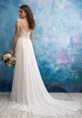 Beaded Sleeveless V-neck Bodice A-line Wedding Dress by Allure Bridals - Image 2