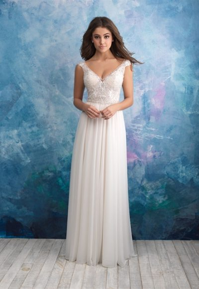 Beaded Sleeveless V-neck Bodice A-line Wedding Dress by Allure Bridals