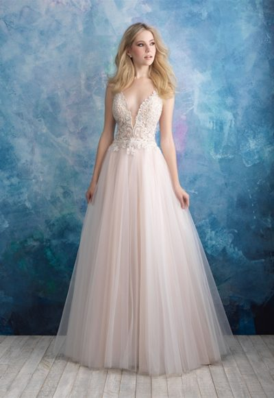Detailed Bodice Tulle Skirt Ball Gown Wedding Dress by Allure Bridals