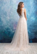 Floral Applique V-neck A-line Wedding Dress by Allure Bridals - Image 2