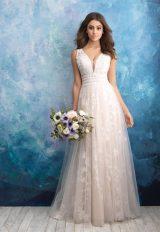 Floral Applique V-neck A-line Wedding Dress by Allure Bridals - Image 1