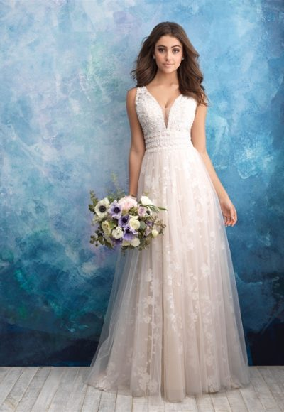 Floral Applique V-neck A-line Wedding Dress by Allure Bridals