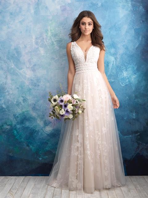 Floral Applique V-neck A-line Wedding Dress   Kleinfeld Bridal