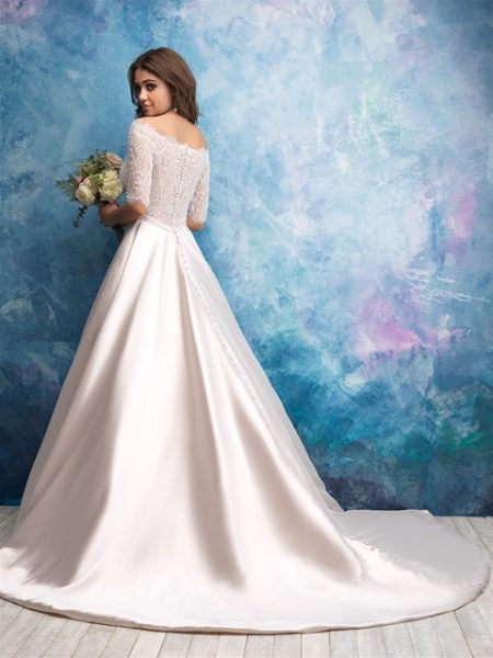 Off The Shoulder Illusion Bodice Satin Skirt Wedding Dress by Allure Bridals - Image 2