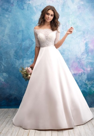 Off The Shoulder Illusion Bodice Satin Skirt Wedding Dress by Allure Bridals