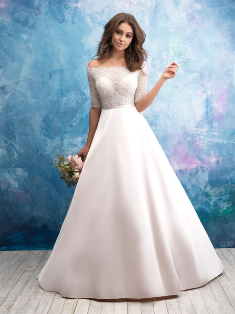 a3aed9e5fa5 Off The Shoulder Illusion Bodice Satin Skirt Wedding Dress | Kleinfeld  Bridal