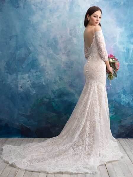 Off The Shoulder Lace Fit And Flare Wedding Dress by Allure Bridals - Image 2