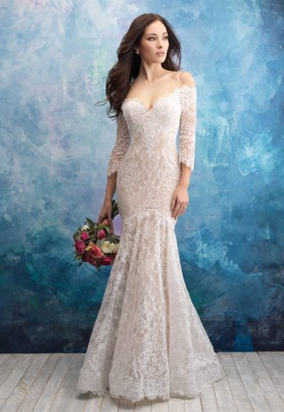 Off The Shoulder Lace Fit And Flare Wedding Dress by Allure Bridals