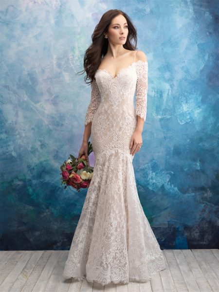 Off The Shoulder Lace Fit And Flare Wedding Dress by Allure Bridals - Image 1