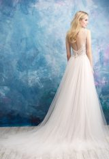 Sleeveless Beaded Bodice Tulle Skirt Wedding Dress by Allure Bridals - Image 2