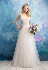 Sleeveless Beaded Bodice Tulle Skirt Wedding Dress by Allure Bridals - Image 1