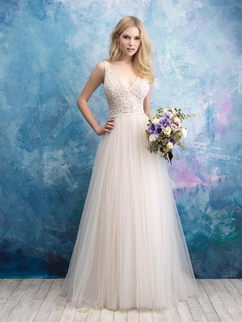 Sleeveless Beaded Bodice Tulle Skirt Wedding Dress