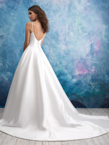 Spaghetti Strap Deep V-neck Satin Ballgown Wedding Dress by Allure Bridals - Image 2