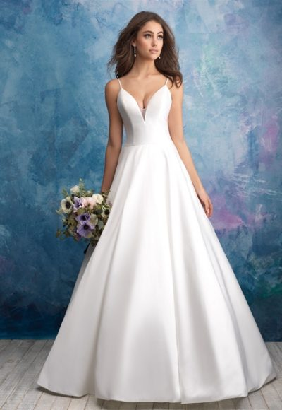 Spaghetti Strap Deep V-neck Satin Ballgown Wedding Dress by Allure Bridals