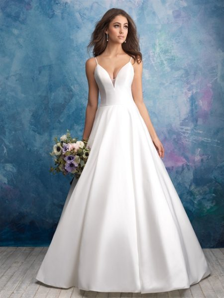 Spaghetti Strap Deep V-neck Satin Ballgown Wedding Dress by Allure Bridals - Image 1