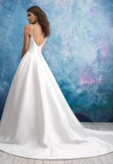 Spaghetti Strap Deep V-neck Satin Ballgown Wedding Dress by Allure Bridals - Image 2