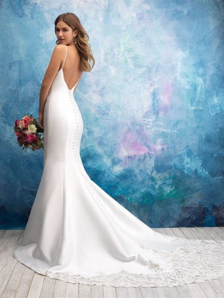 Spaghetti Strap Sweetheart Neck Satin Fit And Flare Wedding Dress by Allure Bridals - Image 2