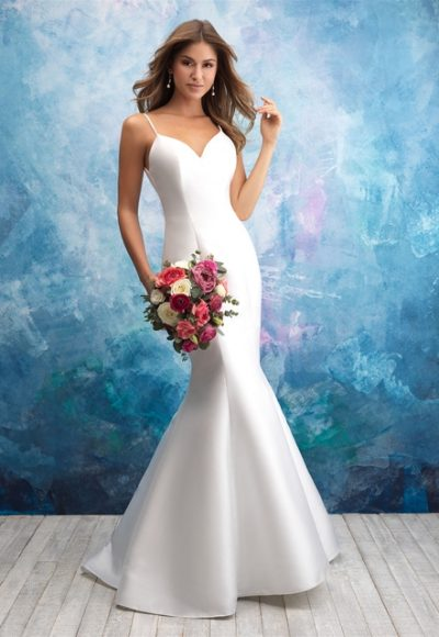 Spaghetti Strap Sweetheart Neck Satin Fit And Flare Wedding Dress by Allure Bridals