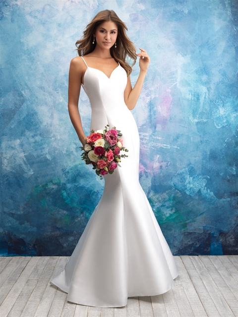 Spaghetti Strap Sweetheart Neck Satin Fit And Flare Wedding Dress ...