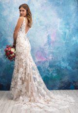 V-neck Sleeveless Lace Sheath Wedding Dress by Allure Bridals - Image 2