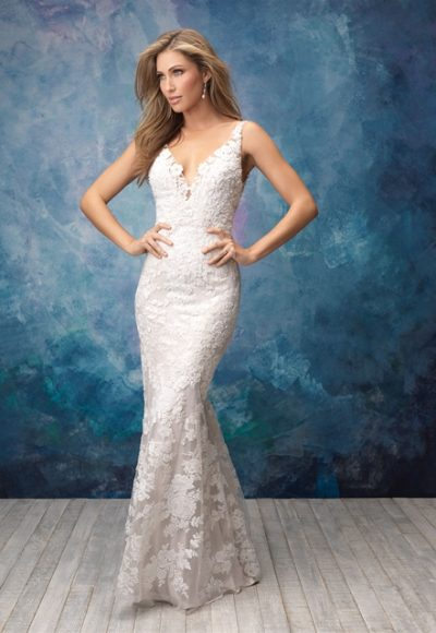 V-neck Sleeveless Lace Sheath Wedding Dress by Allure Bridals