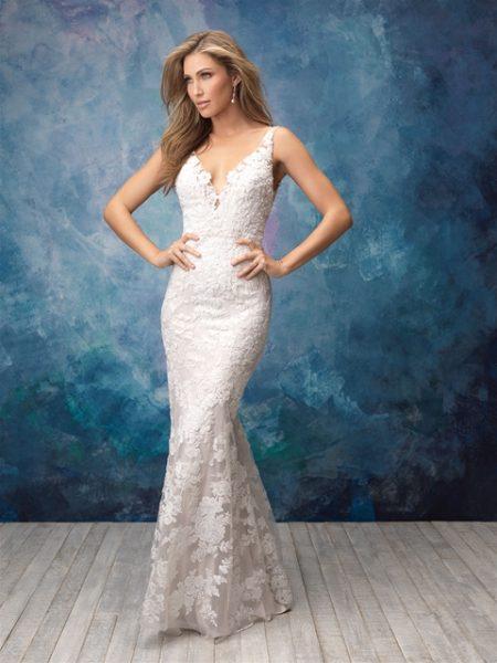 V-neck Sleeveless Lace Sheath Wedding Dress by Allure Bridals - Image 1