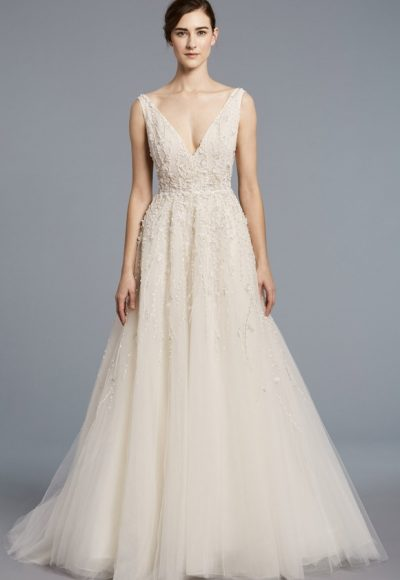Lace V-neck Bodice Tulle Skirt A-line Wedding Dress by Anne Barge