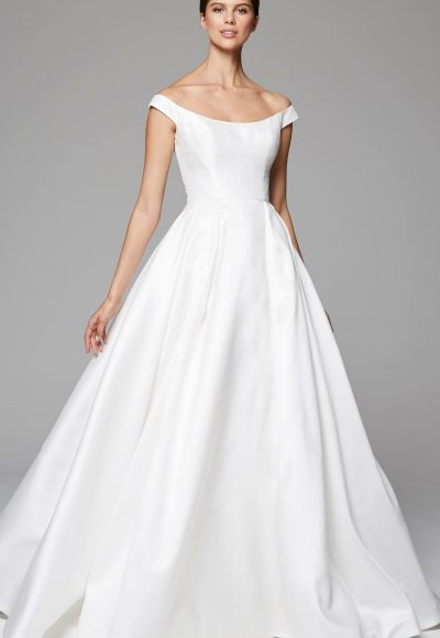 Simple Sleeveless Ball Gown Wedding Dress by Anne Barge