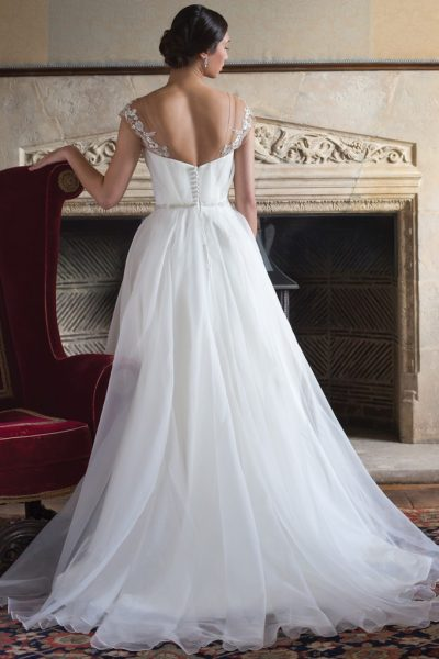 Tulle Wedding Dress With Draped V-neck And Beaded Belt by Augusta Jones - Image 2