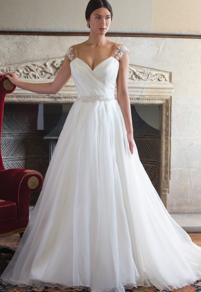 Tulle Wedding Dress With Draped V-neck And Beaded Belt by Augusta Jones