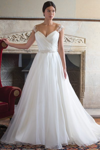 Tulle Wedding Dress With Draped V-neck And Beaded Belt by Augusta Jones - Image 1