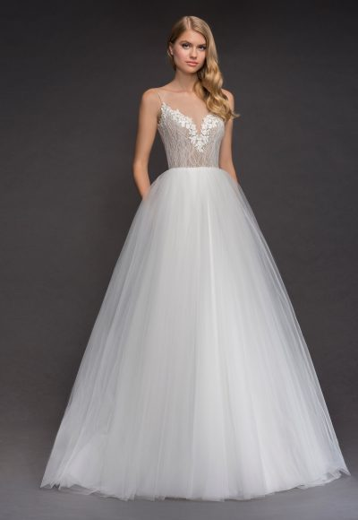 Spaghetti Strap Deep Sweetheart Neckline Tulle Skirt Wedding Dress by BLUSH by Hayley Paige