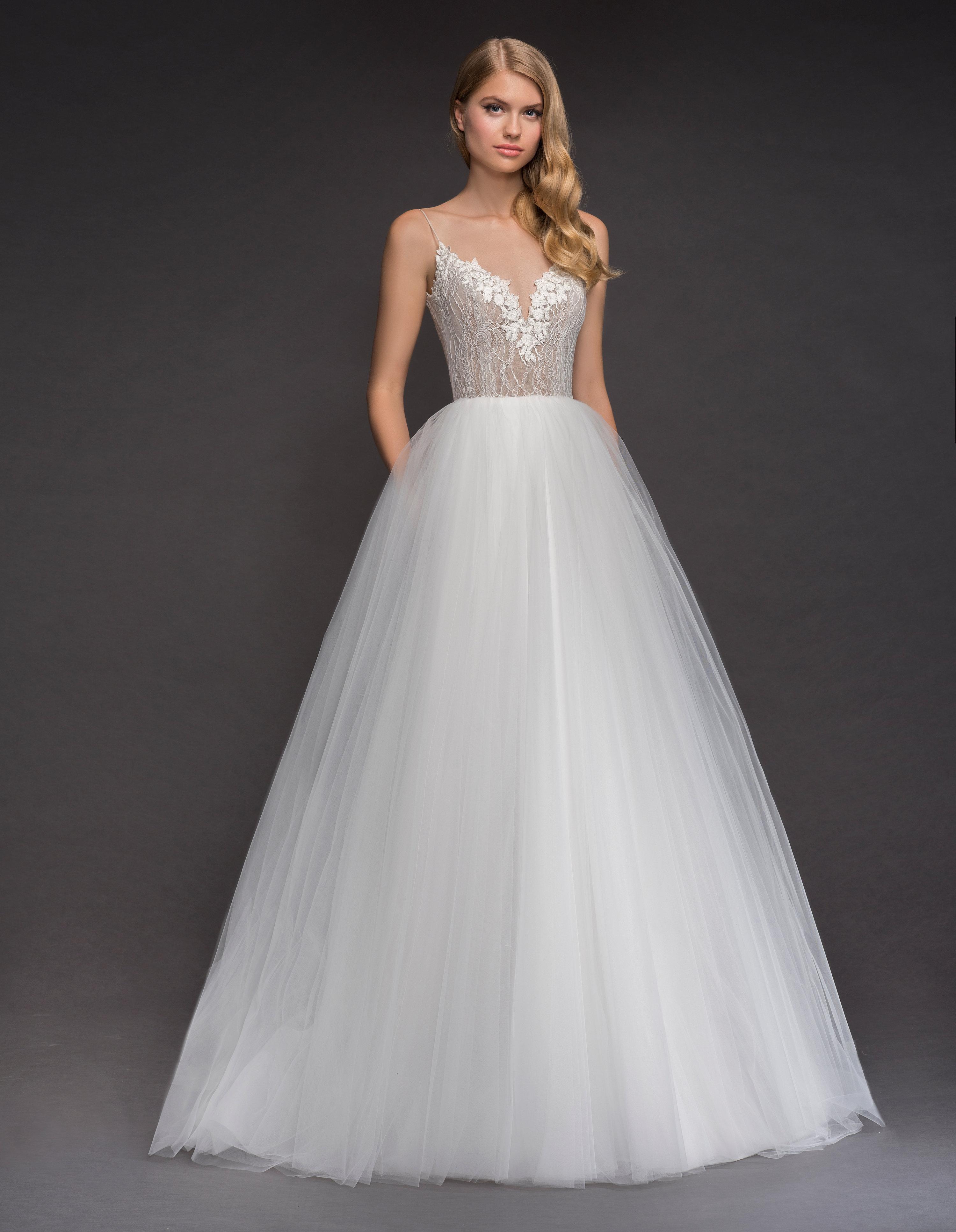 Spaghetti Strap Deep Sweetheart Neckline Tulle Skirt Wedding Dress