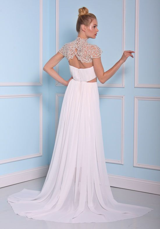 ... Beaded High Neckline Tea Length Silk Wedding Dress By Christian Siriano    Image 2 Zoomed In