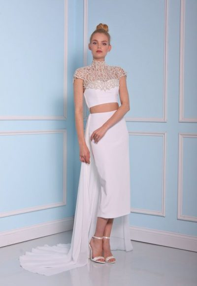 Beaded High Neckline Tea Length Silk Wedding Dress by Christian Siriano