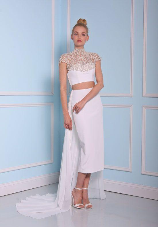 Beaded High Neckline Tea Length Silk Wedding Dress - Image 1
