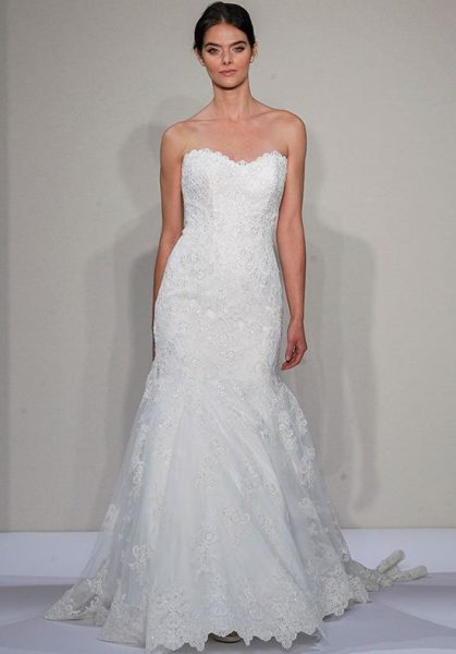 Sweetheart Neck Lace Mermaid Wedding Dress by Dennis Basso - Image 1