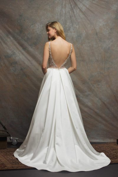 Beaded Bodice Satin Skirt A-line Wedding Dress by Enaura Bridal - Image 2