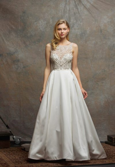 Beaded Bodice Satin Skirt A-line Wedding Dress by Enaura Bridal