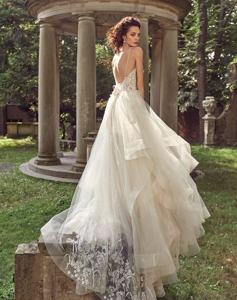 Lace Sleeveless Bodice Tulle Skirt A-line Wedding Dress by Eve of Milady - Image 2