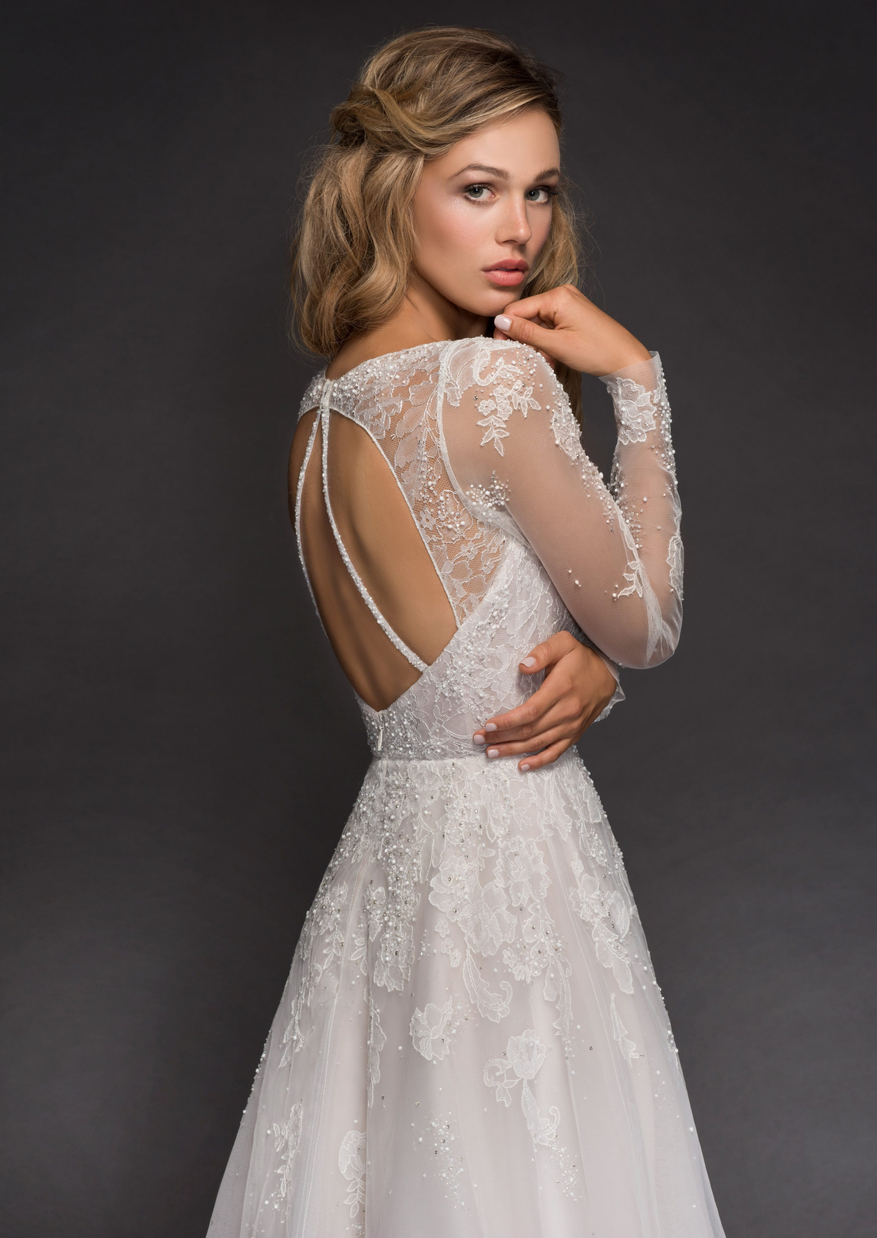 Sweetheart Long Sleeve Beaded Lace A Lne Wedding Dress Kleinfeld Bridal