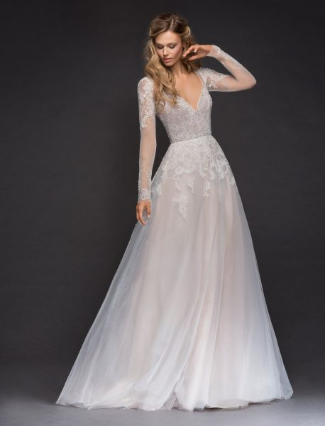Sweetheart Long Sleeve Beaded Lace A-lne Wedding Dress | Kleinfeld ...