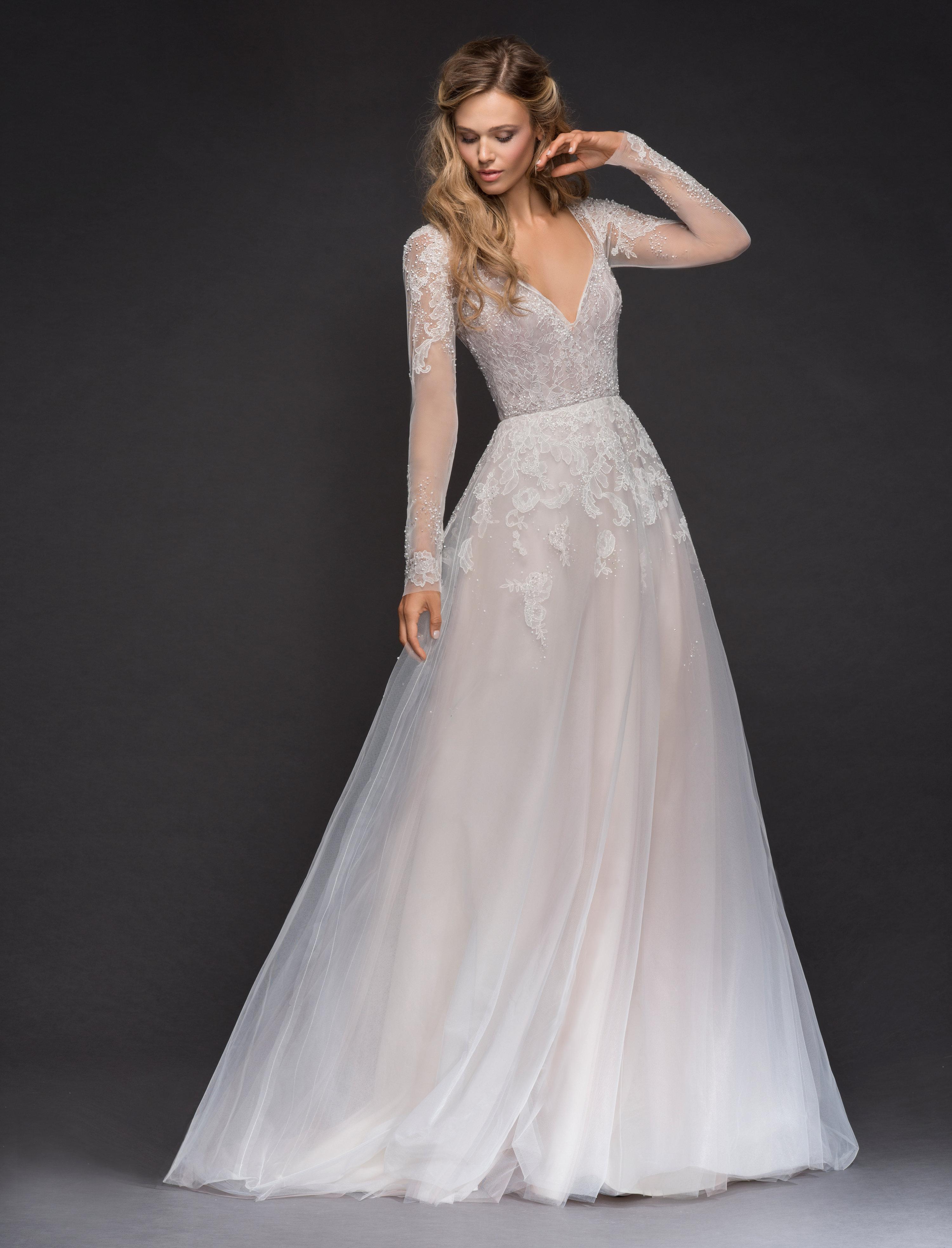 Sweetheart Long Sleeve Beaded Lace A-lne Wedding Dress | Kleinfeld ...