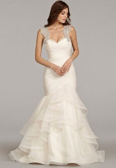 Sweetheart Neckline Ruched Bodice With Beaded Straps And Ruffled Skirt Wedding Dress by Hayley Paige