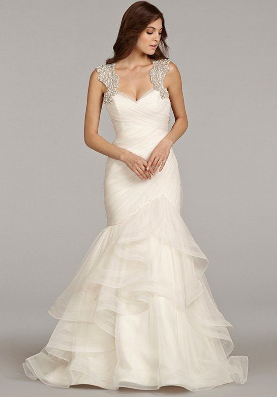 Sweetheart Neckline Ruched Bodice With Beaded Straps And Ruffled