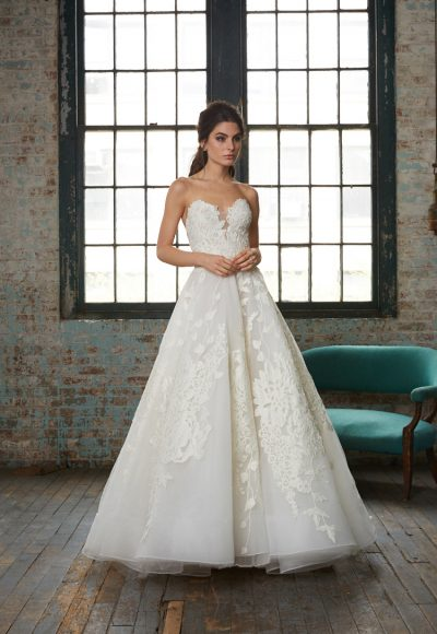 Strapless Lace Applique Ball Gown Wedding Dress by Isabelle Armstrong