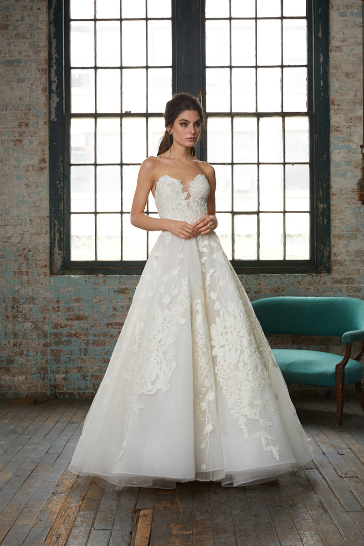 Strapless Lace Applique Ball Gown Wedding Dress | Kleinfeld Bridal