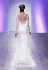Long Sleeve A-line Lace Wedding Dress by Jim Hjelm - Image 2