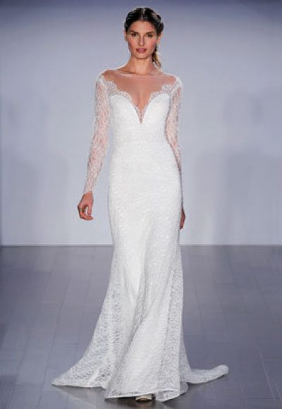Long Sleeve A-line Lace Wedding Dress by Jim Hjelm